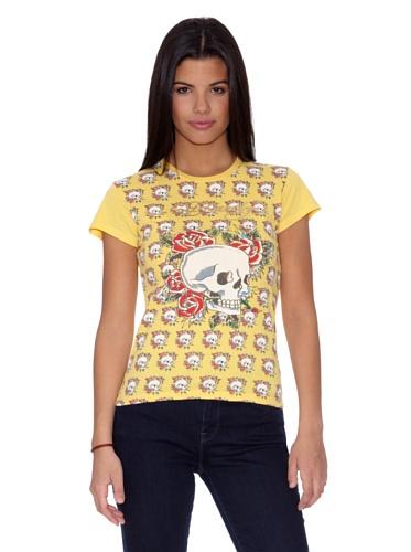 Ed Hardy T-Shirt Calaveras gelb L