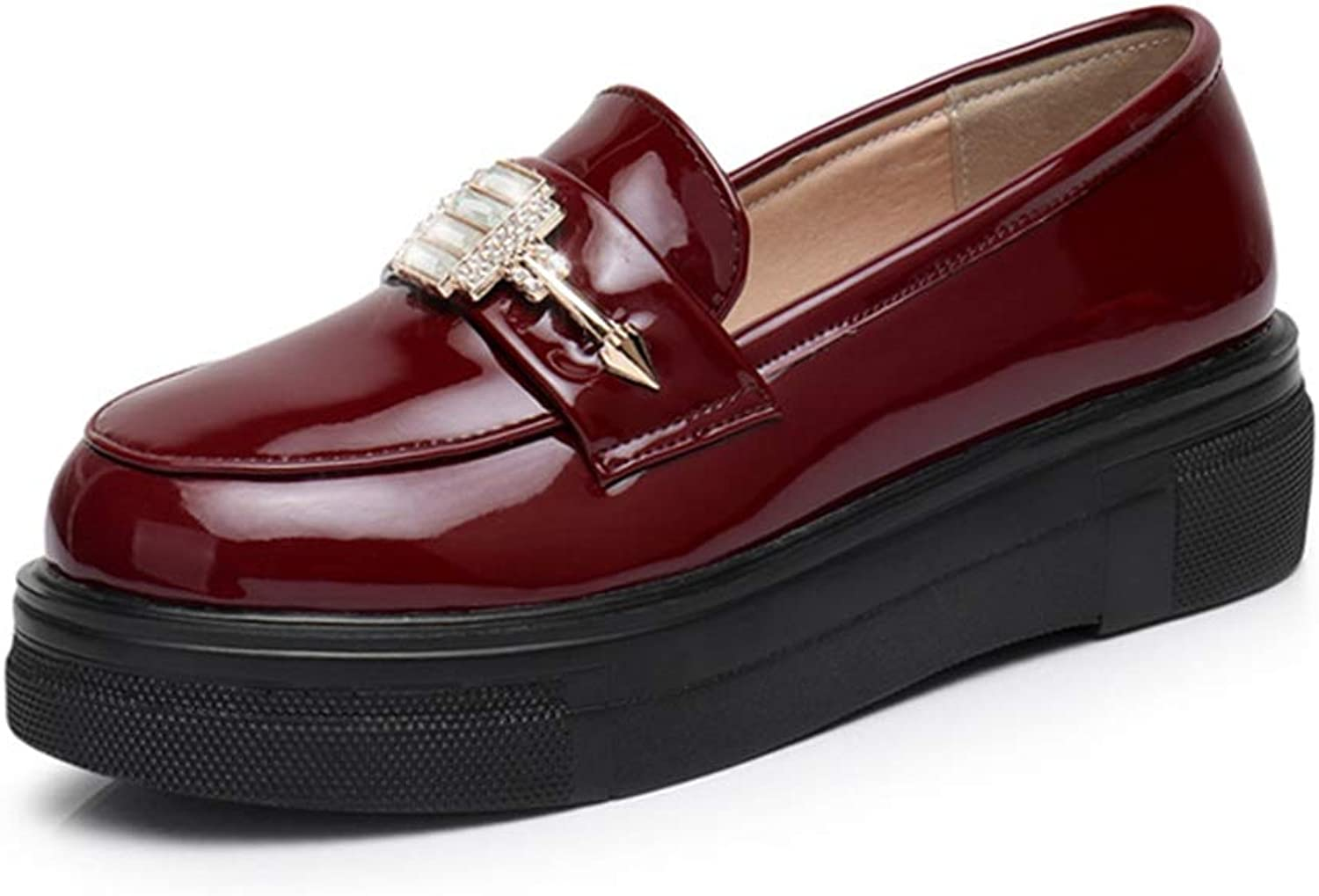 Fay Waters Womens Leather Loafers Crystal Decorated Waterproof Platform Breathable Fashion shoes