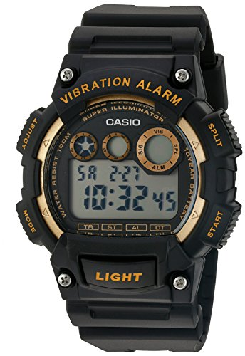 Casio Men's 'Super Illuminator' Quartz Stainless Steel and Resin Watch, Color:Black (Model: W-735H-1A2VCF)