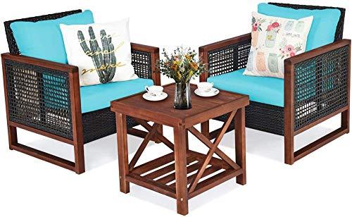 YRRA 3 Pezzi Patio mobili in Vimini Set di sofà all'aperto in Rattan Set W/Cuscino Lavabile e tavolino da caffè Acacia Conversazione con Conversazione Bistro Set per Giardino (Beige)-Turchese