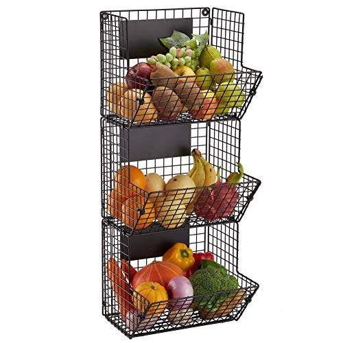 Wall Mounted Wire Basket Hanging Fruit Basket 3 Tier Kitchen Storage Bins Fruit Vegetable and Pantry Organizier Stand Produce Rack Black