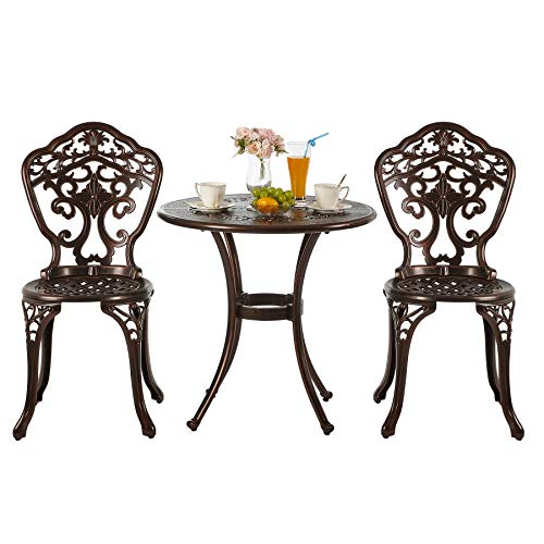 Nuzanto 3 Pieces Small Metal Outdoor Patio Bistro Set Bistro Table Set with Umbrella Hole and Chairs Outdoor Patio Furniture Set 3 Piece Antique Bronze Durable Rust Weather Resistance (T365C22)