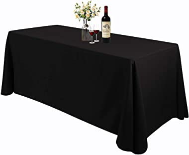 Waysle Large Black Rectangle 90 x 156 Inch Tablecloth - 8ft Washable Polyester Tablecloths - Perfect for Wedding | Restaurant