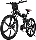 VIVI Bicicleta Eléctrica Plegable, 26' Bicicleta Montaña Adulto, Bicicleta Electrica Montaña, 350W Bicicletas Electricas Plegables con Batería Extraíble De 8Ah, 21 Velocidades, Doble Suspension
