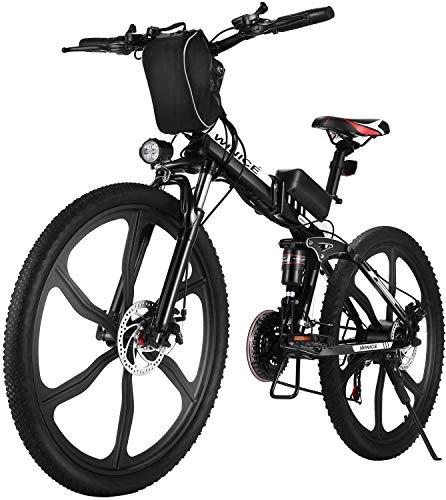 "VIVI Bicicleta Eléctrica Plegable, 26"" Bicicleta Montaña Adulto, Bicicleta Electrica Montaña, 350W Bicicletas Electricas Plegables con Batería Extraíble De 8Ah, 21 Velocidades, Doble Suspension"