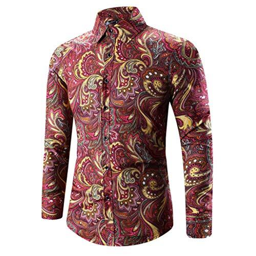 Chemise à manches longues hommes, Toamen hommes Hawaiian Shirt Imprimer T-shirt Tee-shirt à manches longues Blouse Top (XXL, rouge)
