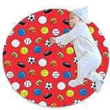 Football Rugby Baseball Tapis de jeu pour enfants au sol Tapis modernes doux ronds pour les décorations de salle de plancher 70x70cm