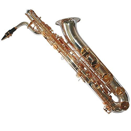 Karl Glaser Saxofón barítono, color plateado latón solapas, con maletín