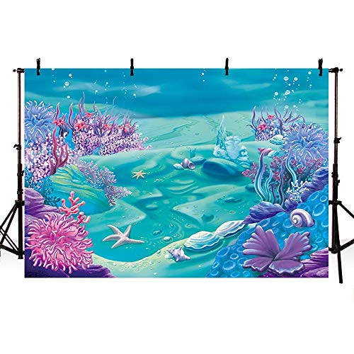 COMOPHOTO Under The Sea Mermaid Backdrop Deep Blue Sea Castle Shell Photography Background Child Kids Mermaid Themed Birthday Party Decoration Backdrops (7x5ft)