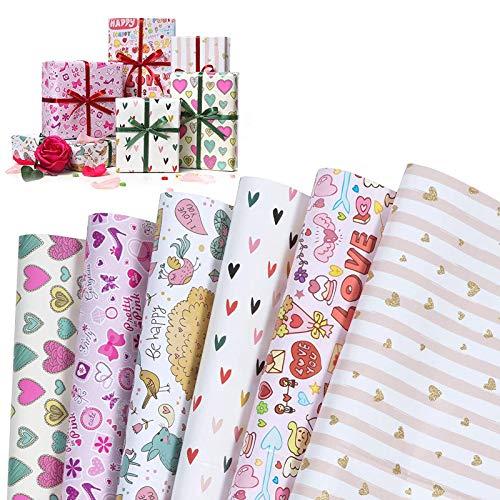 WolinTek Papier Cadeau pour Enfants,Papier D'emballage de la Saint-Valentin,Feuilles De Papier d'emballage Cadeau pour Anniversaire, Vacances, Mariage, Cadeau de Naissance - 6 Désign - 50 x 70 cm