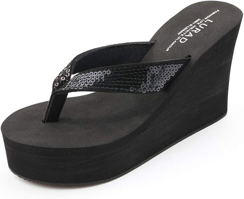 Haoyunlai Sequined Women's Flip-Flops, Summer Muffin Wedges with High-Heeled Non-Slip Beach Sandals Slippers