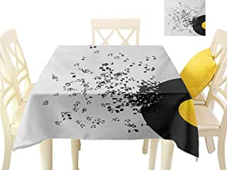 Angoueleven Outdoor tablecloths Music,Abstract Design Flying Music Notes Disc Album Dancing Nightclub Print,Ivory Black and Yellow 3D Dital Printing Covers W 60