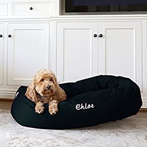 Majestic Pet Personalized Bagel Style Dog Bed – Machine Washable – Soft Comfortable Sleeping Mat – Durable Supportive Cushion – Custom Embroidered Dog Bed and Sizes