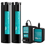 Creabest New 2Packs 3500mAh Ni-MH Battery Compatible with Makita 9.6V Battery 9000 9001 9002 9033 9600 96003 193890-9 192696-2 632007-4 and Include One Ni-MH/Ni-CD1.2V-18V Battery Charger