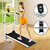 Folding Treadmill - Foldable Non-Electric Treadmill w/ Auto incline for Home Gym, Office, Apartment - Shock-absorbing Mechanical Treadmill - Portable Fitness Walking/Running Trainer w/ LCD Display