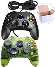Mekela Classic Wired Controller Gamepad Joysticks for Xbox S Type Console (Black and ClearGreen1)