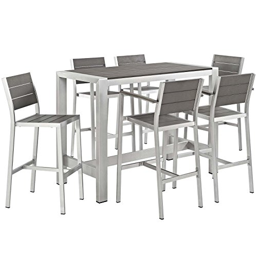 Modway Shore 7-Piece Aluminum Outdoor Patio Pub Bistro Set with Bar Stools in Silver Gray