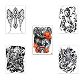 5 piezas realistas grandes tatuajes temporales negros hombres tatuaje cuerpo brazo piernas espalda completa tatuaje pegatina ángel Erlangshen diablo Buda diseños tatuajes falso tatuaje impermeable