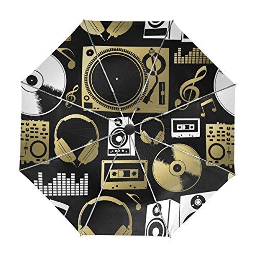 MyDaily Vintage Music Icons Reise-Regenschirm, automatischer Schließmechanismus, UV-Schutz, Winddicht