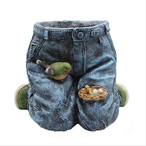 LBYLYH Verzamel Beeldje Beeldje Beeldje Rustieke Creatieve Jeans Bloem Pot Vintage Vaas Bloem Decoratie