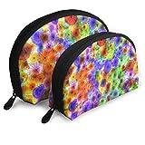 XCNGG Bolsas portátiles de concha de medusa de colores 2 piezas Bolsa de embrague OneBig y OneSmall Bolsa de maquillaje cosmético