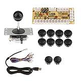 アーケードゲーム用 ゼロ遅延 PCコントローラ ジョイスティック DIYキット 全5色選択 USBエンコーダボード - ブラック
