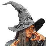 NET TOYS Aufwendiger Zauberer-Hut im Wildleder-Look - Grau - Zauberhaftes Unisex-Kostüm-Zubehör Magierhut - Perfekt geeignet für Fasching & Karneval