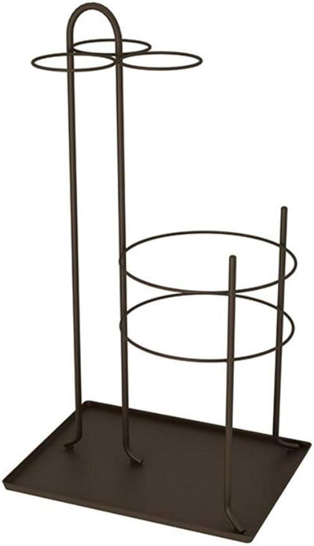 XEWNEG Wrought Iron Umbrella Stand Cane Rack Creative Home Hall Corridor Storage Rack 4 color (color   Brown)