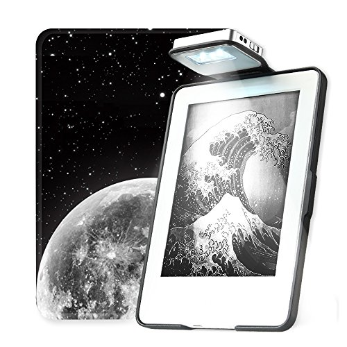 Young me All New Kindle E-reader Rechargeable Led Light Auto Wake/Sleep Hand Strap Leather Cover/Case Kindle 2016 6 inch 8th generation(Not Fit Kindle Paperwhite) Space