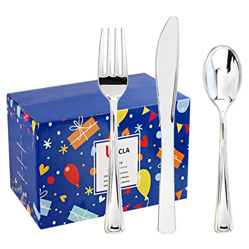 BUCLA 600 Pieces Silver Plastic Silverware-Plastic Silver Cutlery-Heavyweight Disposable Flatware set- 200 Forks, 200 Spoons, 200 Knives