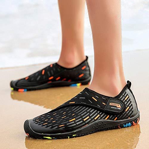 B/H Chaussures de Plage Aquatiques,Chaussures de plongée à séchage Rapide pour la randonnée et la Natation en Plein air-Noir Orange_46,Surf Plongee Sechage Shoes