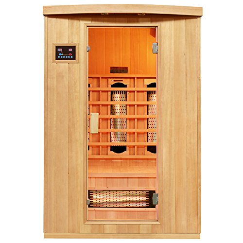 Artsauna Infrarotkabine Visby mit Vollspektrumstrahler | 2 Personen Kabine aus Hemlock Holz | 130 x 100 cm | Infrarotsauna Infrarot Wärmekabine