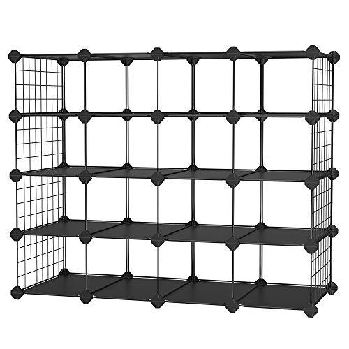 SONGMICS Zapatero de 4 Niveles, Armario Modular con 16 Compartimentos Abiertos, con Panel de plástico, Alambre Metálico, 91 x 36 x 71 cm, Negro LPM044B01