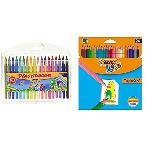 BIC Kids Plastidecor Estuche de 36 unidades, ceras de colores surtidos + Tropicolors Blíster de 24 unidades, lápices de colores, colores surtidos