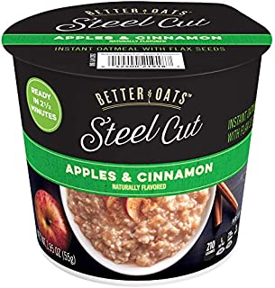 Better Oats Steel Cut Instant Oatmeal Cups, Apple and Cinnamon, 1.95 Ounce (Pack of 12)