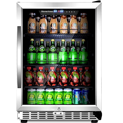 Sinoartizan Compressor Beverage Cooler 24 inch Single Zone Built-in and Freestanding Fridge 154 Can beverage fridge refrigerator With Stainless Steel Energy Saving Triple-Layered Tempered Glass Door