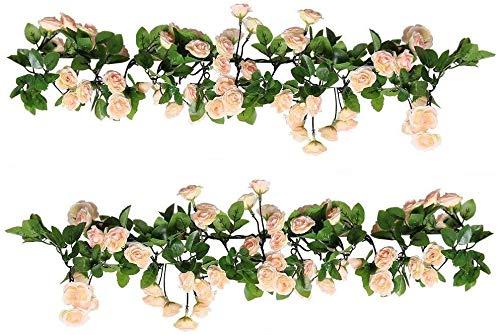 Raelf 2 Packungen 5,84 Fuß pro Schicht Künstlicher hängender Rosen-Kranz-künstliche Blumen-Rebe Rose Rattan Plastikblumen, Efeu, Rayon Rosengarten, Family Wedding Garten (69 Kleine Rosen, Rosa)