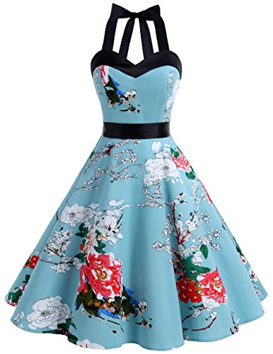 DRESSTELLS Neckholder Rockabilly 1950er Polka Dots Punkte Vintage Retro Cocktailkleid Petticoat Faltenrock Floral 3XL