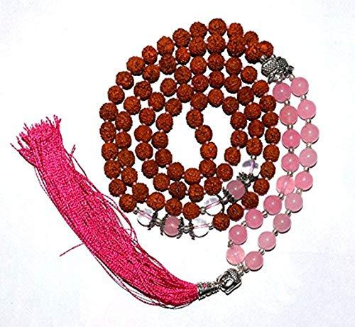 Ramneek Jewels Divya shaktí + Cuarzo Rosa Rudraksha–Rosario Budista para Reiki y Chakra Curación
