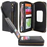 Lacass Dual Zipper Leather Wallet Wristlets Clutch Handbag Purse with Card Slots Money Pocket for Samsung/Moto/LG/Blu vivo x5 / XL+/XL3 Plus/XL4/V9/G8/G9 Pro/R2 Plus/X8 HD/Life one X3/A6 2018