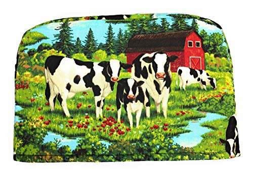 2 Slice Cows Farm Barnyard Green Red Barn Reversible Appliance Toaster Dust Cover Cozy 11.5(l) x 7.5(h) x 5.5(w)