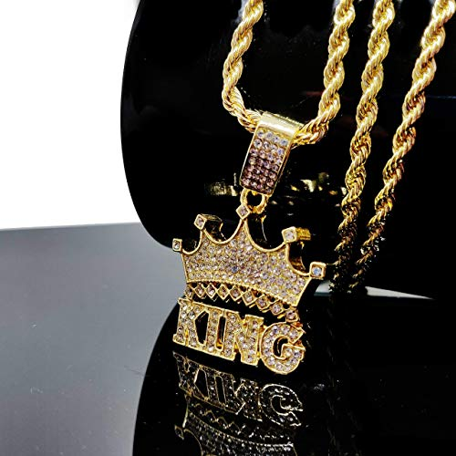Iced Out 'King Crown' 14K Hip Hop Gold Plate Jewelry, Bling Bling Necklace 30 inches Rope Chain Included