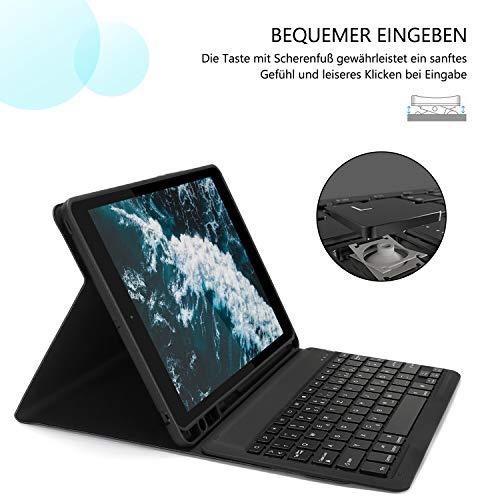 Jelly Comb Beleuchtete Tastatur Hülle für Neues iPad Pro 2020 10,2 / iPad 2019 10,2 Zoll, iPad Air 2019(3. Gen), iPad Pro 10,5 2017, Bluetooth QWERTZ Tastatur mit Schützhülle/Pencil Halter, Schwarz
