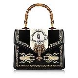 Beatfull Deisgner Handbag for Women Top Handle Handbag Bee Shoulde Bag with Fox (black)