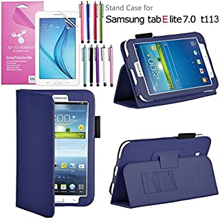Galaxy Tab E Lite 7.0 Case, EpicGadget(TM) Galaxy E Lite Premium PU Leather Folding Folio Cover Case with Built in Stand For Tab E Lite 7 inch T113 + Screen Protector + 1 Pen (Navy Blue Leather Cover)