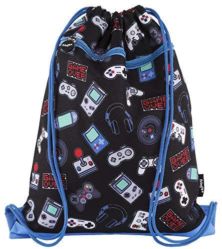 FRINGOO® Kinder-Turnbeutel mit Frontreißverschluss Sporttasche Schulrucksack 34 x 42 cm