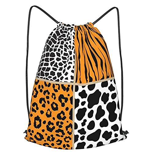 Drawstring Backpack Bag,Set Animal Giraffe Cow Safari,Sport Gym Sackpack Cinch Waterproof Bag For School Yoga Gym Swimming Travel Backpack