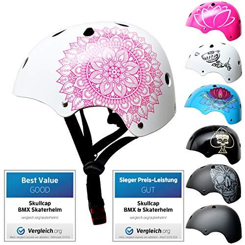 Skullcap® Skaterhelm Kinder Weiß Mandala - Fahrradhelm Mädchen ab 6 Jahre Größe 53-55 cm - Scoot and Ride Helmet Kids - Skater Helm für BMX Scooter Inliner Fahrrad Skateboard Laufrad