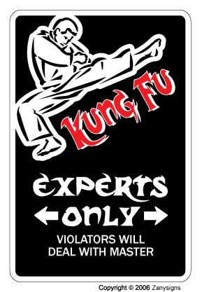 "KUNG FU Aluminum Sign Parking Martial Arts Black Belt Fighter Student Instructor | Indoor/Outdoor | 10"" Tall"