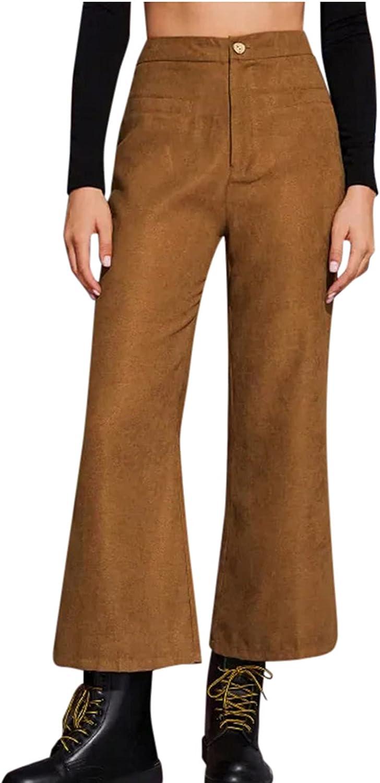 XIEXIEBUY Pants for Women Flare Pants High Waist Straight Stretch Slim Pants Casual Pants Wide Leg Loose Trousers